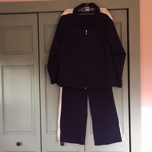 Energy Zone track suit. Navy with yellow stripe.